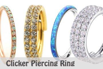 Piercing Clicker Ring mit vielen Kristallen