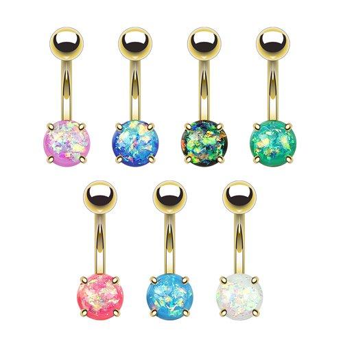 Bauchnabelpiercing Gold mit gefasste Opal piercing
