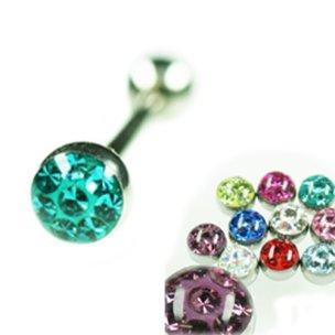 Tragus piercing barbell mit Multikristall Helix Stecker