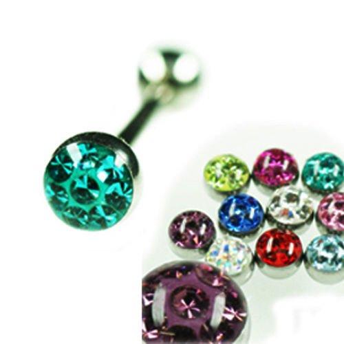 Zungenpiercing 1,6mm Barbell mit Multikristall