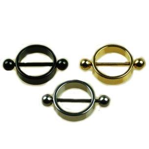 Brust Piercing Stab mit Ring Gold Schwarz Silber