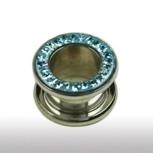 tunnel piercing mit Multikristalle in Aqua