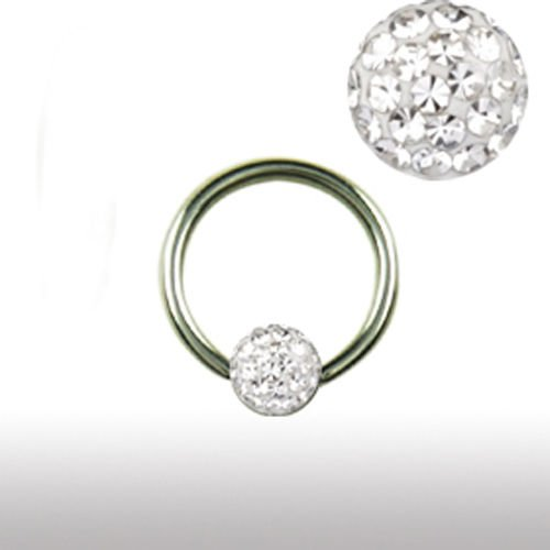 Ohrpiercing Titan Ring mit Multistrass Kugel