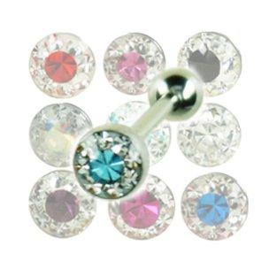 zungenpiercing mit Multikristall epoxidharz Kugel