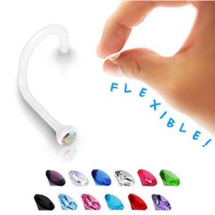 Nasenpiercing aus Kunststoff mit Glitzer