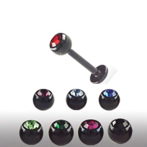 Ohr Piercing schwarz Labret mit 2,5mm Glitzer