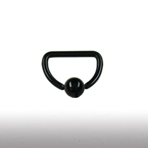 Brustwarzenpiercing Schwarz D-Ring