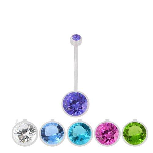 Bauchnabel Piercing für Schwangerschaft Flexibel große Kristall