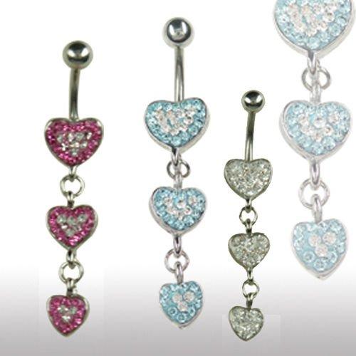 Bauchnabel Piercing Schmuck 3 Herzen viele Kristalle