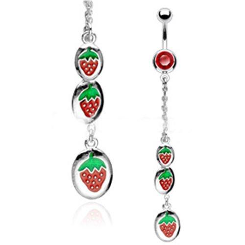 Bauchnabel Piercing Schmuck Erdbeeren Anhänger