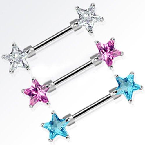 Brust Piercing Schmuck 2 Sterne Kristallsterne