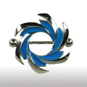 BRUSTPIERCING Schmuck Windmühlen Form Blaue Streifen...