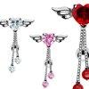 Herz Flügel Bauchnabel Piercing Schmuck Kristalle und Kette