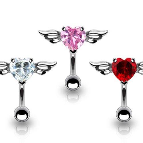 Kristall Herz Flügel Bauchnabel Piercing Schmuck