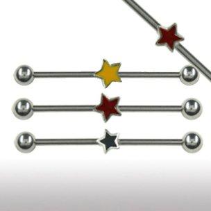 piercing industrial schmuck mit bunte Sterne