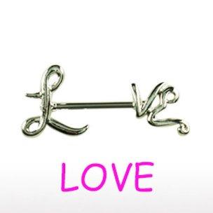 LOVE BRUSTPIERCING Schmuck Love Schrift Brust Piercing