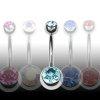 Mini Bauchnabelpiercing 4+6mm Doppelkristallkugel
