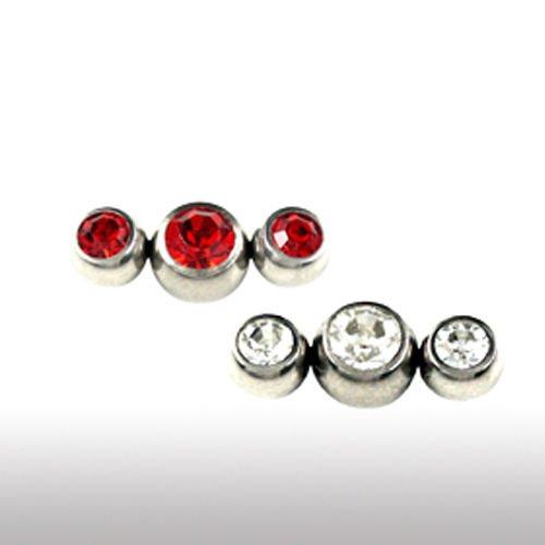 Piercing Kugel mit 3 kristalle für Zungenpiercing