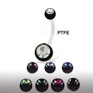 Ptfe Stab Bauchnabelpiercing Schwarz Doppelkristall