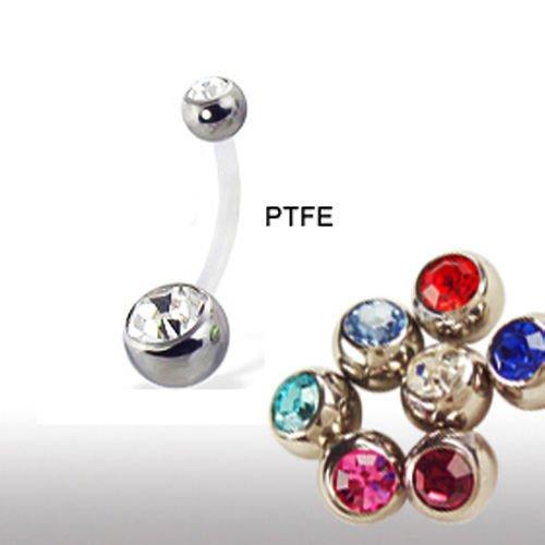 PTFE-Stab Bauchnabel Piercing mit Doppelkristall Kugel