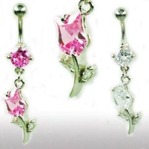 Bauchnabel Piercing Rose Blume Kristalle