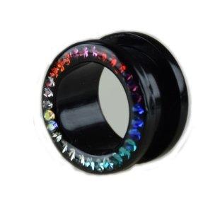 tunnel piercing Regenbogen Kristalle aus Kunststoff