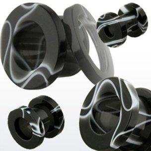 Ohr Tunnel aus Kunststoff schwarz und Weiss