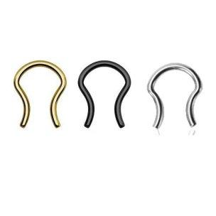 septum piercing retainer in schwarz Gold Silber