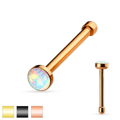 Nasenpiercing Stecker Gold mit Opal Stein