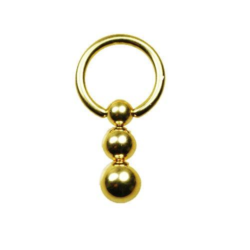 Intimpiercing Gold Piercing Ring mit 3er Kugeln