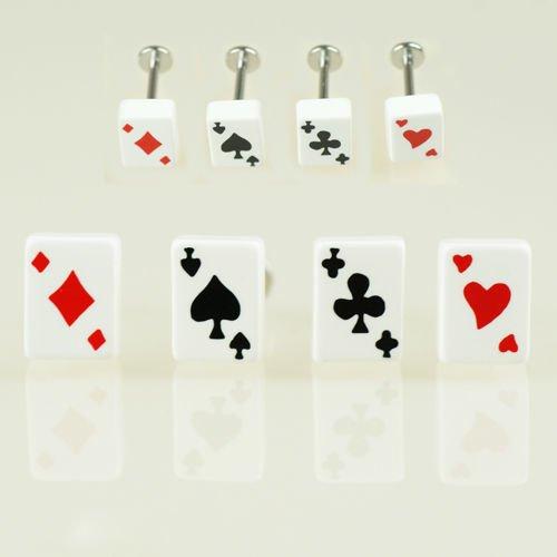 Spielkarte Ohrstecker Helix Piercing Rockabilly