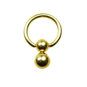 1,6mm Gold Doppel Klemmkugel Piercing Ring K:5+6mm