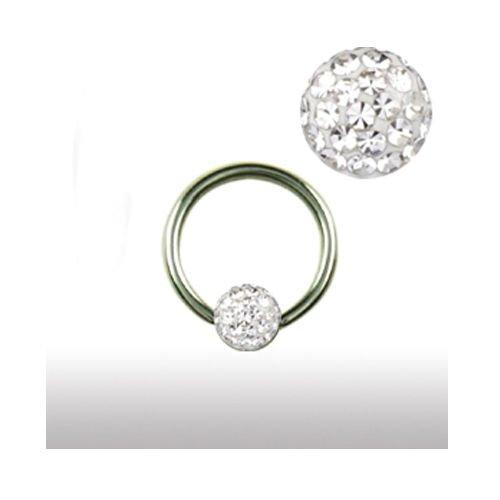 Piercing Ring 1,2mm mit Multistrass Kugel