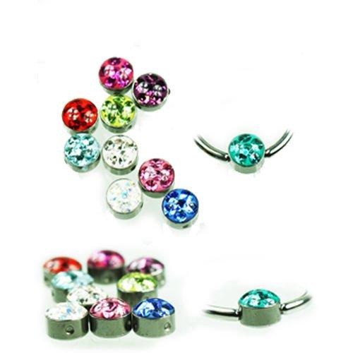 Lippenbändchen piercing Kugel mit Multi krstall