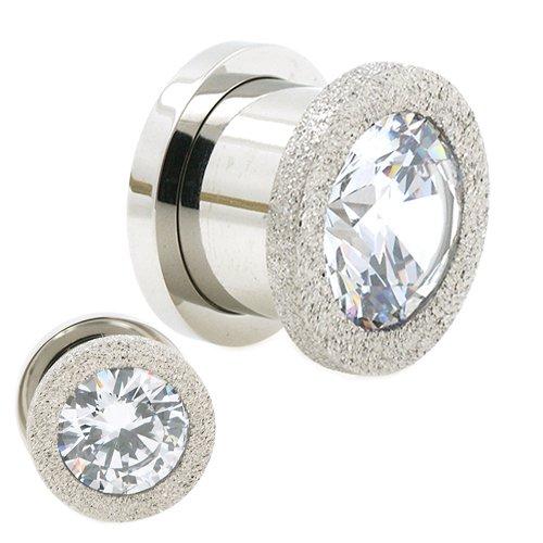 Flesh Tunnel Diamant Optik und große Kristall