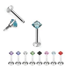 Micro Labret Viereck Kristall Ohr Piercing