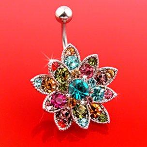 Multikristall Blume Bauchnabel Piercing Schmuck