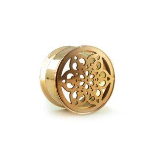 Blume Ornament FleshTunnel Ohr Piercing Plug