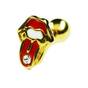 Gold Ohr Stecker Zungen Motiv