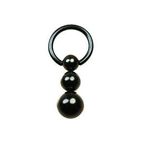 BDSM Brustwarzenpiercing schwarz Ring 1,6mm