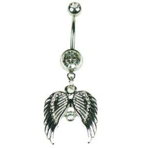 Engel Flügel Bauchnabel Piercing mit Kristallen