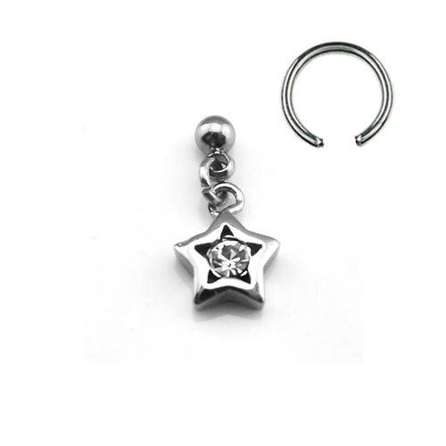 Ohrpiercing Stern Ring mit Glitzer und Kette