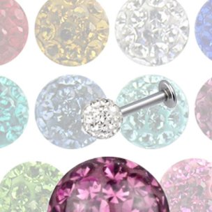 Lippenpiercing Titan Stab mit 4mm Multikristall