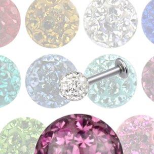 Helix Piercing Titan Stecker mit 5mm Multikristall