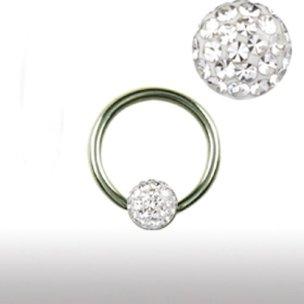 1,6mm Titan Ring 4mm rundum Kristall Kugel