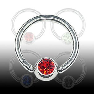 Brustwarzenpiercing Titan Ring mit Glitzer