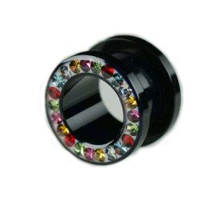 Ohr tunnel kunststoff mit Kristall Multifarbe
