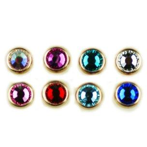 1,6mm Rosegold Piercing Schraubkugel mit facettiertem Kristall