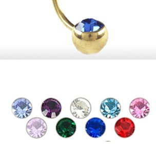 Gold Piercing Kugel 90 grad mit kristall