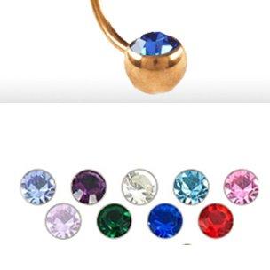 5mm Rosegold Piercing Kugel 90 grad mit kristall